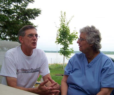 Meeting with Little Rock Lake resident Nancy Carver to discuss water quality issues on the lake, July 24, 2008.