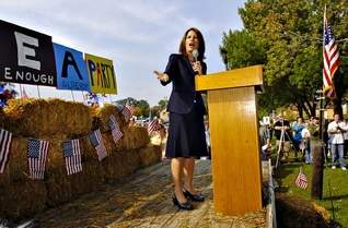 Rep. Michele Bachmann spoke at a Tea Party at Lake George in St. Cloud after a town hall meeting, Saturday, Sept. 12, 2009. (Jason Wachter / St. Cloud Times)