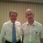 Tom Horner with real estate agent Steve Baklaich in St. Cloud, Aug. 16, 2010.