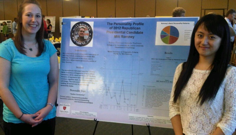 "Poster presentation by research assistants Amanda Nusbaum and Feiran Chen: ""The Personality Profile of 2012 Republican Presidential Candidate Mitt Romney,"" College of St. Benedict, July 30, 2012."