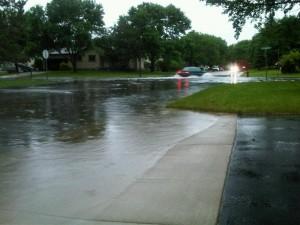 Street flooding in Sartell, north of St. Cloud (Photo: Aubrey Immelman)