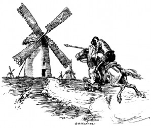 Image: Don Quixote riding toward Windmill