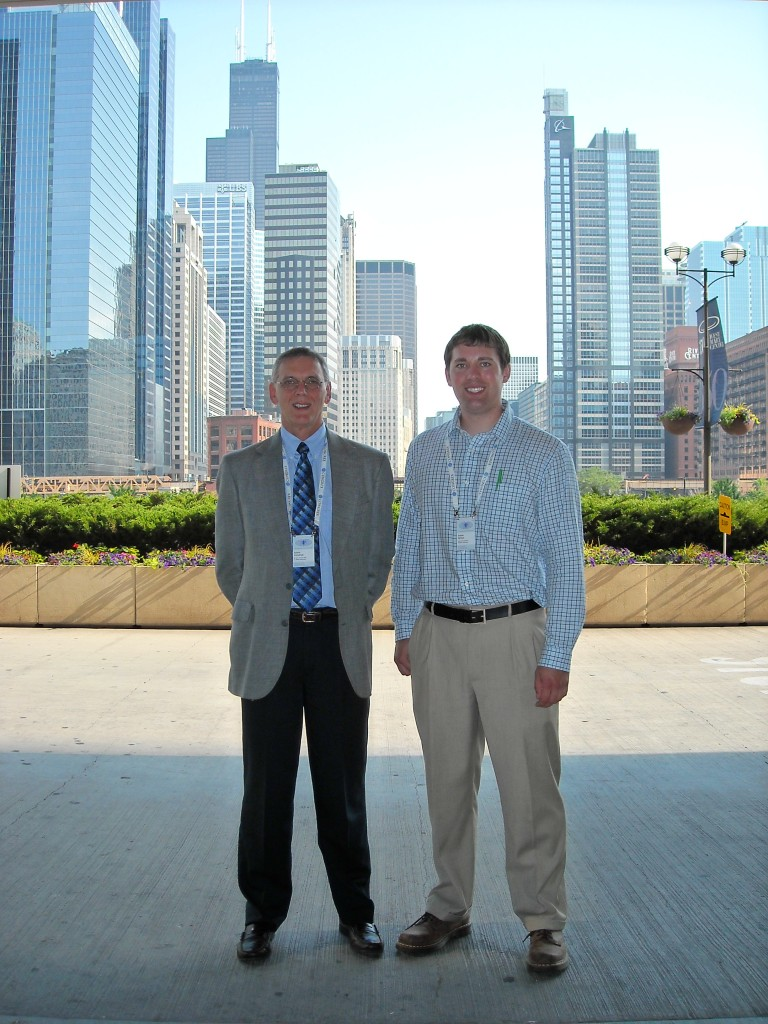 Aubrey Immelman and Andrew Obritsch in Chicago at the annual scientific meeting of the International Society of Political Psychology to present their research on Barack Obama and Mitt Romney, July 2012.