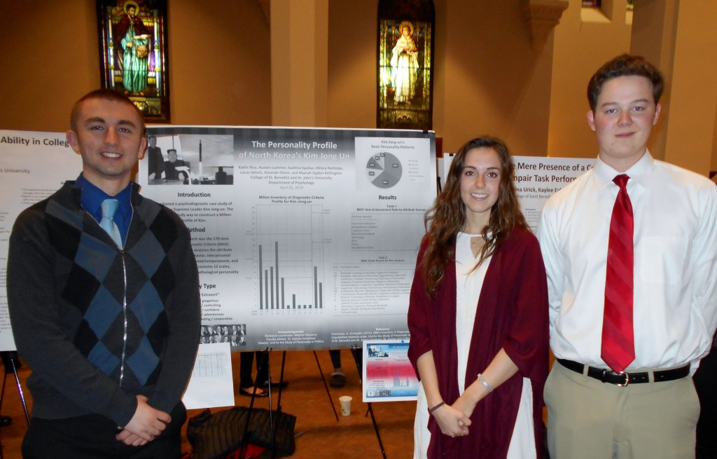 Katlin Rice, Austen Luetmer, Hillary Rethlake, Suntina Spehar, Amanda Olson, Mariah Ogden-Kellington, and Lucas Vetsch (advised by Dr. Aubrey Immelman) presented their research, 'The Personality Profile of North Korea's Kim Jong Un,' April 26, 2018.