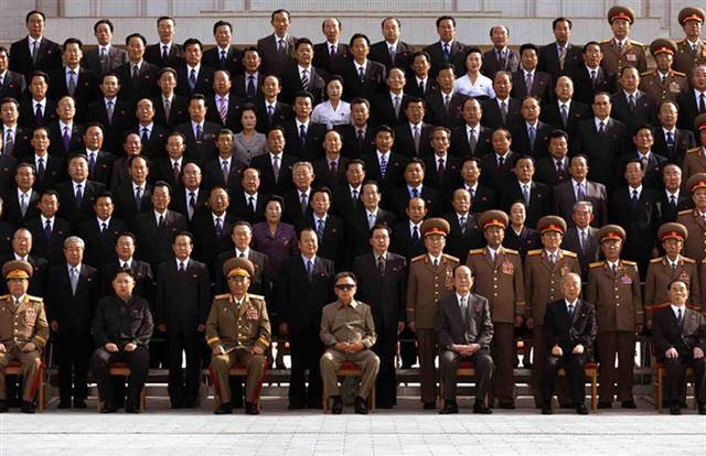 The front page of North Korea's Rodong Shinmun newspaper on Thursday, Sept. 30, 2010 shows a group photo of senior North Korean officials, including Kim Jong Un. The newspaper identified Kim Jong Un as being second from left in the front row. (Photo: AP)