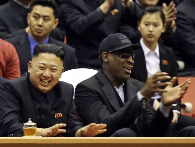 North Korean leader Kim Jong Un and former NBA star Dennis Rodman watch a basketball game in Pyongyang on Feb. 28, 2013 in this image released by North Korea's official news agency. (Photo: KCNA)