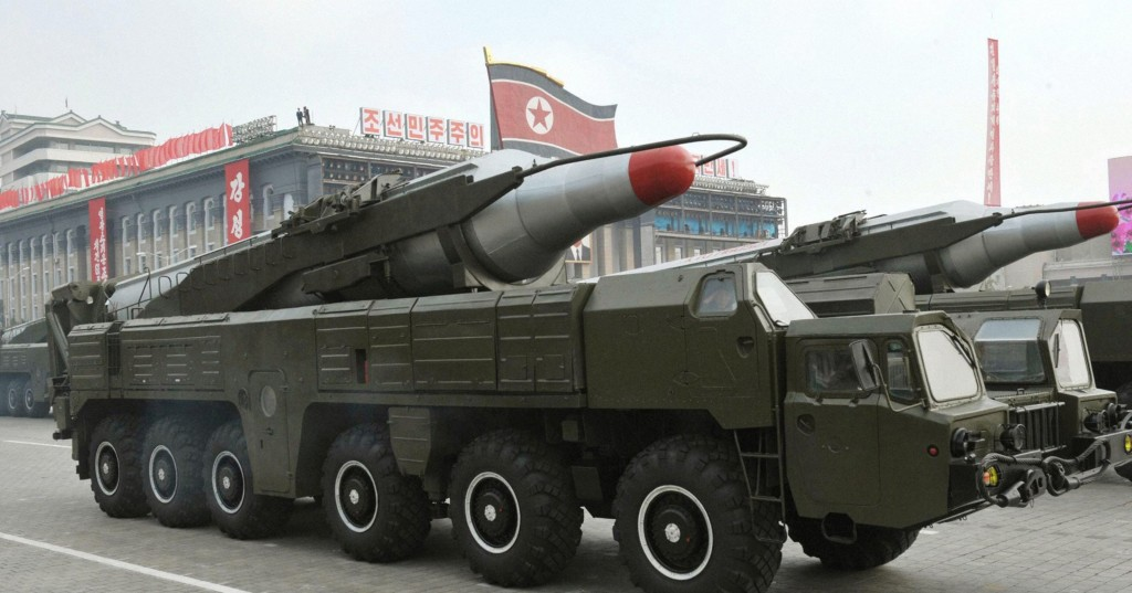 A Musadan intermediate-range missile is carried on a vehicle during a military parade in October 2010 in Pyongyang, North Korea. (Photo credit: KCNA via EPA)