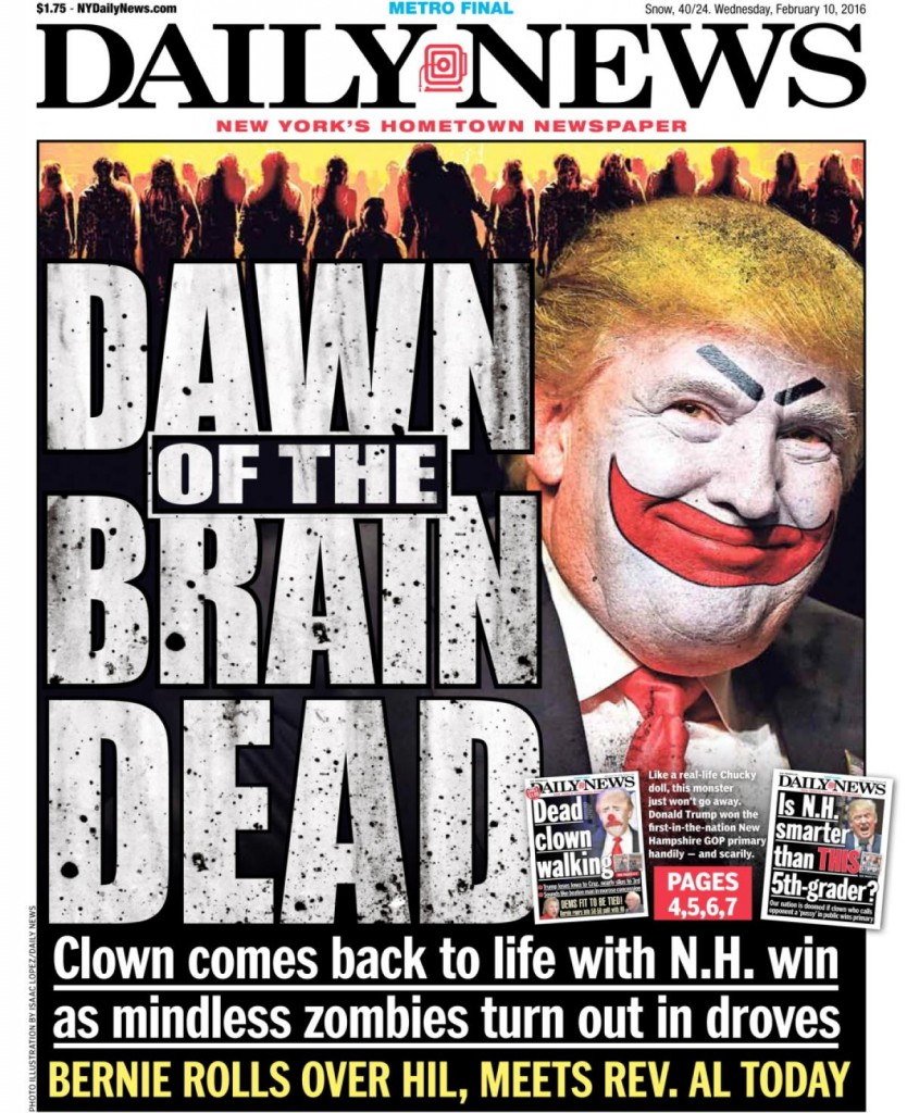 The controversial New York Daily News front page of Feb. 10, 2016.