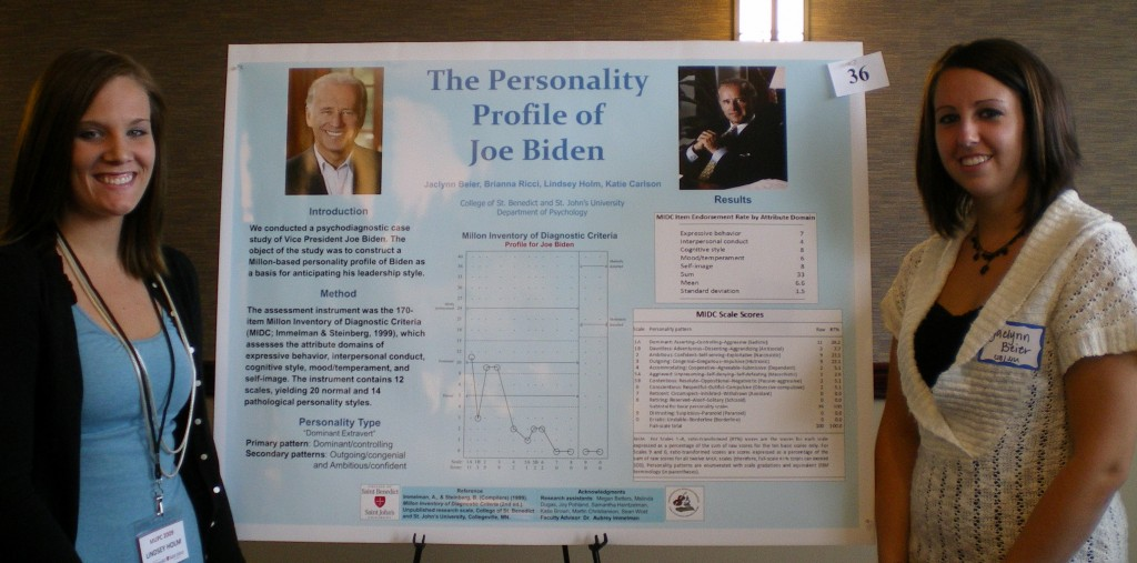 "Lindsey Holm and Jaclynn Beier present their research poster, ""The Personality Profile of Vice President Joe Biden,"" at the 44th annual Minnesota Undergraduate Psychology Conference on April 18, 2009, at the College of Saint Benedict in St. Joseph, Minn."