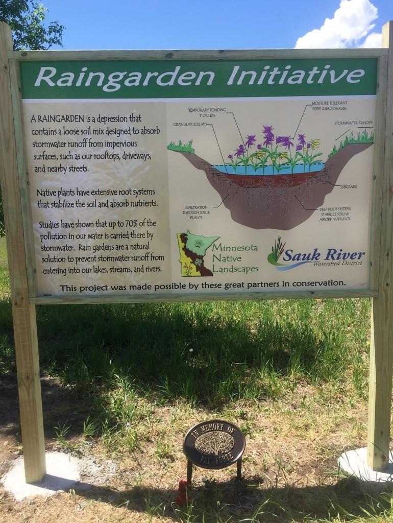 Memorial rain garden dedicated to Pat Forte at Kennedy Community School, St. Joseph, Minn., unveiled May 25, 2018.
