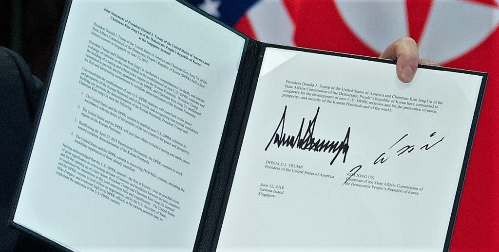 Signed Singapore summit statement by Donald Trump and Kim Jong-un, June 12, 2018 » https://www.cnn.com/2018/06/12/politics/read-full-text-of-trump-kim-signed-statement/index.html