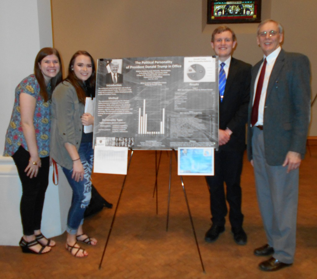 Meghan Keaveny, Emily Berg, Thomas Baker, Cassidy Smith, Jamie McCarthy, and Erin Titus (advised by Dr. Aubrey Immelman) presented their research, ?The Political Personality of President Donald Trump in Office,? at Scholarship Day, April 26, 2018.