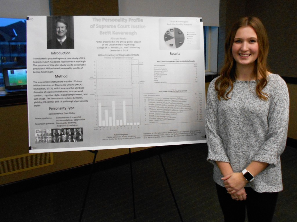 "Allison Roehl presents her poster, ""The Personality Profile of Supreme Court Justice Brett Kavanaugh,"" at the annual Department of Psychology Poster Session, College of St. Benedict 